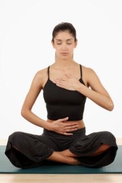 A IMAGE diaphragmatic breathing sitting yoga pose